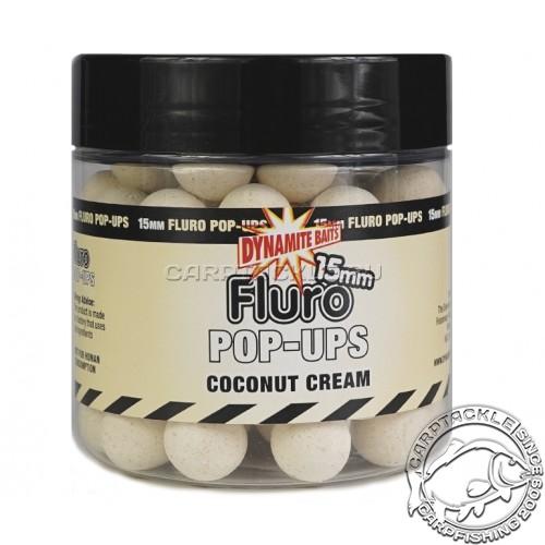 Плавающие бойлы 15мм Dynamite Baits Fluro Coconut Cream Pop-Ups 15mm Кокосовый крем