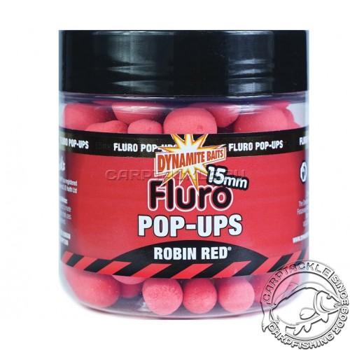 Плавающие бойлы 15мм Dynamite Baits FLURO Robin Red Pop-Ups 15mm Робин Рэд Флуоресцентные
