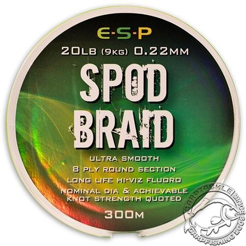 Леска плетеная для спода E-S-P SPOD Braid Hi-Viz Fluoro Green 300m 20lb