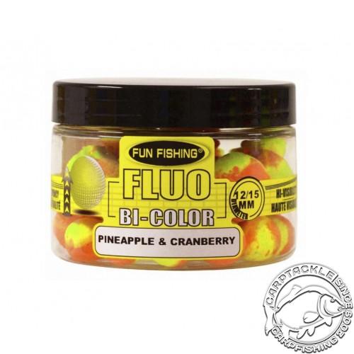 Плавающие бойлы 12-15мм Fun Fishing Fluo Bi-Color Pop Up Pineapple & Cranberry 12-15mm