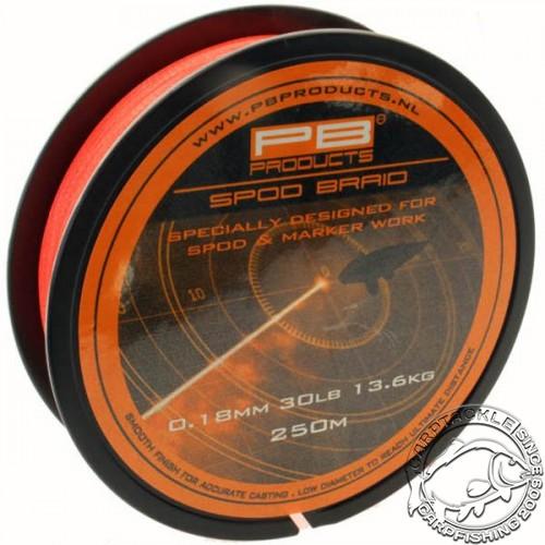 Леска плетеная PB Products SPOD & MARKER Braid Fluo Orange 0.18mm 250m