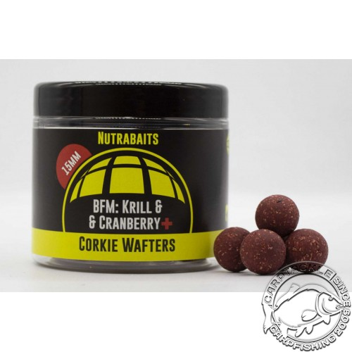 Бойлы нейтральной плавучести Nutrabaits BFM Krill & Cranberry+ Corkie Wafters