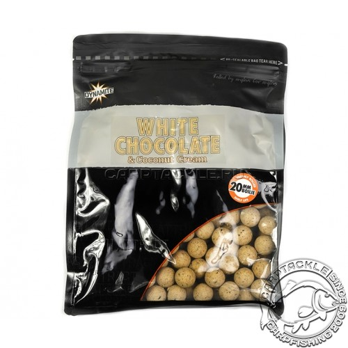 Тонущие бойлы 20мм Dynamite Baits White Chocolate & Coconut Cream Boilie 20mm 1kg Белый шоколад с молотым кокосом