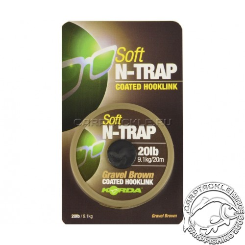 Поводковый материал Korda N-Trap Soft 20lb Gravel Brown